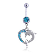 Oasis Plus Cute Dolphin Blue Gem Crystal Navel Rings Rhinestone Belly Button Ring Surgical Steel Body Glitters Piercing Jewellery