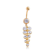 Oasis Plus Sexy Clear Crystal Gold Navel Ring Dangle Rhinestone Belly Button Rings Hoop Body Glitters Piercing Jewellery