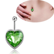 Oasis Plus Green Heart-shaped Gem Crystal Navel Rings Rhinestone Belly Button Ring Surgical Steel Body Glitters Piercing Jewellery