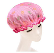 Fashion Design Stylish Reusable Shower cap with Beautiful pattern and colour (Hotpink