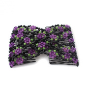 Purple Stretch Flower Bow Glass Bead Hair Head Comb Cuff Double Clip Gift