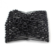 Black Stretch Flower Bow Glass Bead Hair Head Comb Cuff Double Clip Gift