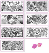 Ship From USA--HipGirl Nail Art Stamp Collection Set #3 - 7 Large Nailart Polish Stamping Manicure, French Tip Image Plates Accessories Kit (Over 130 Images) with Bonus Stamper and Scraper