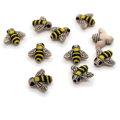 10 - Small - Honey Bee Beads - Novelty Beads - Ceramic Beads - Peruvian Beads