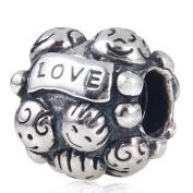 "Hoobeads Happy Family Authentic 925 Sterling Silver Charm ""Family & Love"" with Screw Thread Fits Pandora Chamilia Biagi Troll Beads Europen Style Bracelets"