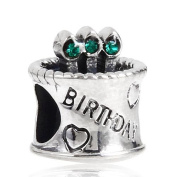 Hoobeads Happy Birthday Cake Colour Crystal Birthstone Bead Fits Pandora Charms Bracelet