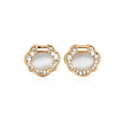 Beautiful Bead A Pair of Women's Cat's Eye Gemstone and Rhinestone Earrings Ear Studs Gold and White