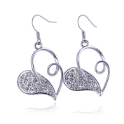Beautiful Bead Half Hollowed Out Love Heart Shaped Fashion Earrings Dangle Hook Silver