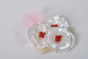 Beautiful hairpin with flowers handmade satin white with red hair accessory