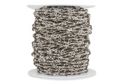 1.5m Bulk Unfinished Silver Plated Smokey Brown 4 mm Glass Beads Wire Wrapped Chain