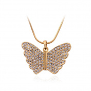 Beautiful Bead Adorable Butterfly Design Multi Rhinestones Pendant Princess Necklace Gold