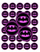 60 Precut 2.5cm BAT GIRL PINK Bottle Cap Images S257