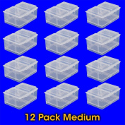 Medium Connect-A-Box® 12 pcs from Cottage Mills. Small item storage system that connects and stacks. Perfect for little things like beads, findings and parts. 2 Packages of 6.