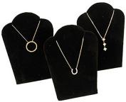 3 Black Velvet Pendant Necklace Jewellery Display 13cm