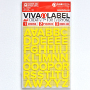 Iron on Letters Appliqué Label 12mm English Block Typeface Neon Yellow with 3D Texture Matt Finish