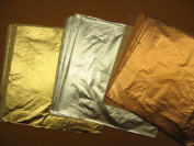 Imitation Gold(100) Imitation Silver(100) Genuine Copper(100) Total 300 Leaf Sheets 14 X 14 Cm