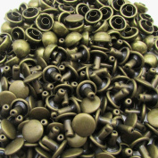 Amanteao Bronze Double Cap Rivets Mushroom Cap 5mm and Post 5mm Pack of 200 Sets