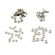 100pcs 10mm Silver Metal No Sewing Press Studs Buttons Snap Fastener