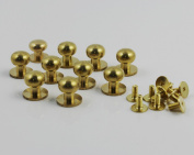 CHENGYIDA 10- PACK 10mm Sam Browne Solid Brass Button Studs,Leather Craft Belt CHICAGO SCREWS SOLID BRASS Nail Rivets