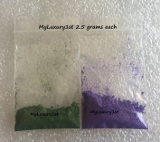 Lot of 2 Cp Layered Soap Colourants Green and Lavender Powder Pigments 2.5 Grammes Each 5g