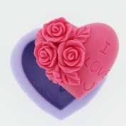 Creativemoldstore 1pcs Heart Shaped with Rose (R0227) Craft Art Silicone Soap Mould Craft Moulds DIY Handmade Soap Mould