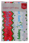 Giant Plastic Gift Bag 90cm x 110cm - Happy Holidays! Red, White, Green Writing