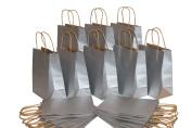 Medium Size Paper Gift Bags with Handles (7.75x 4.60cm x 25cm ), Metallic Silver, 2 Dozen
