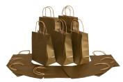 Medium Size Paper Gift Bags with Handles (7.75x 4.60cm x 25cm ), Metallic Gold, 1 Dozen