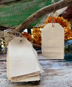 AK-Trading 7cm x 12cm Natural Canvas Creative Tags with Jute Twine - Pack of 12
