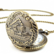 Mosunx(TM) Unisex Antique Train Case Vintage Brass Rib Chain Quartz Pocket Watch with Chain
