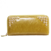Mantos Eternity Luxury Women's Waxy Genuine Leather Fashion Studded Long Wallet Zippered Clutch with Card Holder