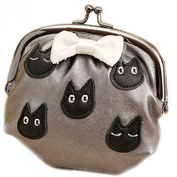 E.a@market Cute Bowknot Pu Coin Purse Grey