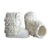 Kangkang@ Baby Handmade Crochet Shoes Knit Winter Sock Boot Keepsake Gift 11cm White Baby Handmade Cotton Line Baby Shoes Children Knitting Warm Winter Boots