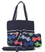 Bow Tie Print Quilted Nappy Bag