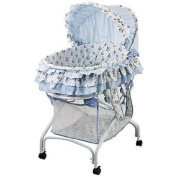 2-in-1 Nursery Baby Bassinet (Light Blue) with Lockable Wheels, Removable Canopy, and Storage Basket - Can Be Converted From Bassinet to Cradle or Baby Bed - Ideal for Infants up to 9.1kg.