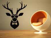 Wall Room Decor Art Vinyl Sticker Mural Decal Funny Cool Deer Head Shades Bow Tie Buck Hunter AS1190