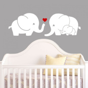 Elephant Family Wall Decal with Red Heart (White) - 23cm X 70cm