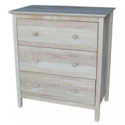 International Concepts Chest with 3 Drawers, Unfinished
