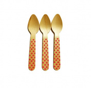 Perfect Stix Polka Dot Spoon 110 36-Pink Printed Wooden Spoons with Pink Polka Dot Pattern, 11cm