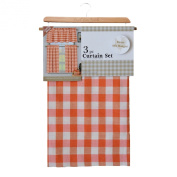 3 Piece Plaid, Chequered, Gingham 35% Cotton Kitchen Curtain Set with 1 Valance and 2 Tier Panels
