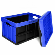 Clever Crates Collapsible Solid Wall Storage Container, 46 Litre (46l), Royal Blue
