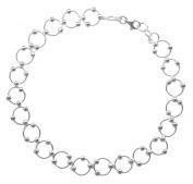 Sterling Silver 20cm Comfortable Hoop & Bead (Beaded Circle Link) Bracelet - Summer Jewellery