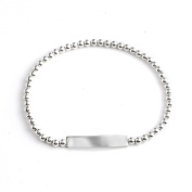 Silverly Women's .925 Sterling Silver ID Identity Stretchable Ball Bracelet