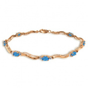 14k Rose Gold Tennis Bracelet with Diamonds and Blue Topaz