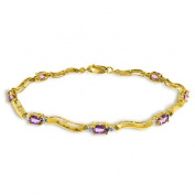 14k Yellow Gold Tennis Bracelet with Diamonds and Amethyst