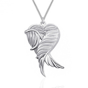 925 Sterling Silver Guardian Angel Wings Heart Pendant Locket Necklace GIFT BOXED
