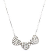 Sterling Silver 925 Three CZ Hearts Adjustable Womens Pendant Necklace 41cm - 46cm - The Royal Gift