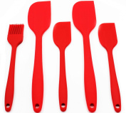 Anfimu [5-piece] Premium Baking Cake Tools Flexible Silicone Set - ★ Heat Resistant Baking Spatulas & Brush ★ - Ergonomic Easy-to-Clean Seamless One-Piece Design - Pro Grade Non-stick Rubber with Stainless Steel S-CoreTM Technolog ..