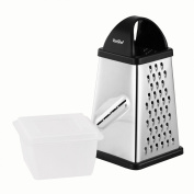 VonShef Stainless Steel Four Sided Grater with Collection Box & Lid