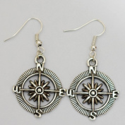 Compass Earrings, Antiqued Brass Earrings, Vintage Style Direction Earrings, Steampunk Compass